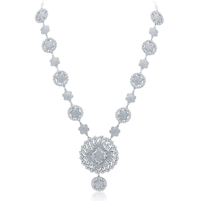 Sukkhi Sparkling Rhodium Plated AD Necklace Set-3