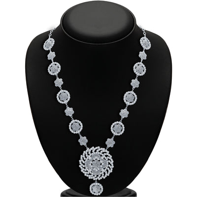 Sukkhi Sparkling Rhodium Plated AD Necklace Set-2