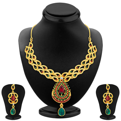 Sukkhi Wavy Gold Plated AD Necklace Set For Women