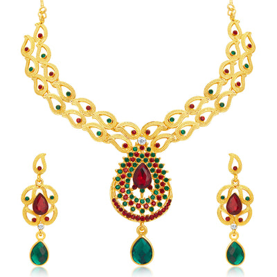 Sukkhi Wavy Gold Plated AD Necklace Set For Women-1