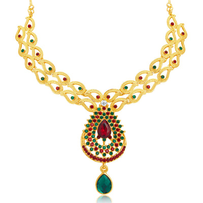 Sukkhi Wavy Gold Plated AD Necklace Set For Women-4
