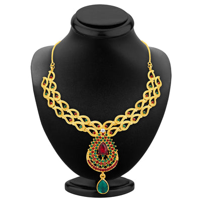 Sukkhi Wavy Gold Plated AD Necklace Set For Women-2