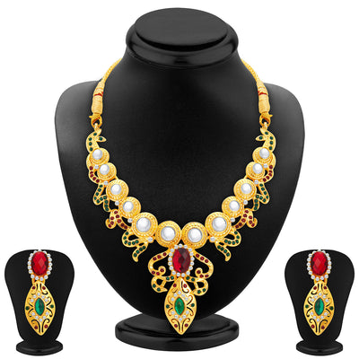 Sukkhi Glorious Gold Plated AD Necklace Set For Women