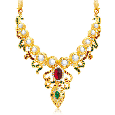 Sukkhi Glorious Gold Plated AD Necklace Set For Women-4