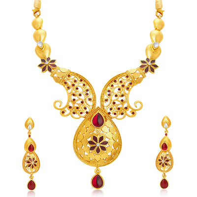 Sukkhi Shimmering Gold Plated AD Necklace Set For Women-1