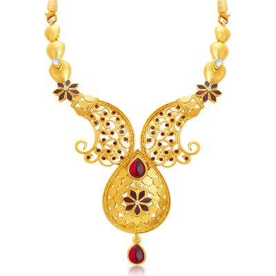 Sukkhi Shimmering Gold Plated AD Necklace Set For Women-4