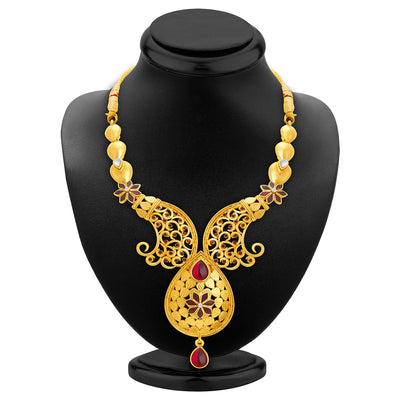 Sukkhi Shimmering Gold Plated AD Necklace Set For Women-2