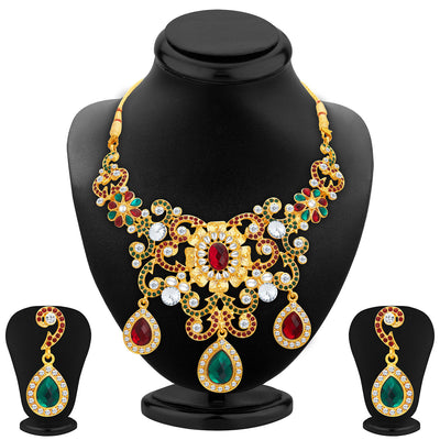 Sukkhi Designer Gold Plated AD Necklace Set For Women
