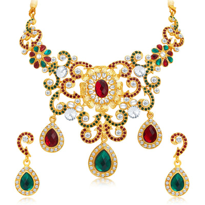 Sukkhi Designer Gold Plated AD Necklace Set For Women-1