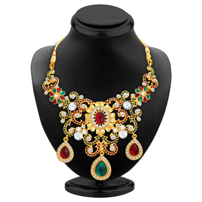 Sukkhi Designer Gold Plated AD Necklace Set For Women-2