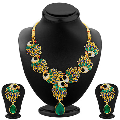 Sukkhi Cluster Peacock Gold Plated AD Necklace Set For Women