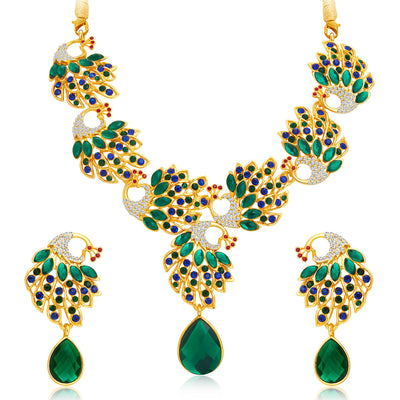 Sukkhi Cluster Peacock Gold Plated AD Necklace Set For Women-1