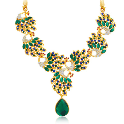 Sukkhi Cluster Peacock Gold Plated AD Necklace Set For Women-4