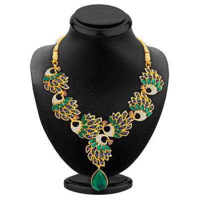 Sukkhi Cluster Peacock Gold Plated AD Necklace Set For Women-2
