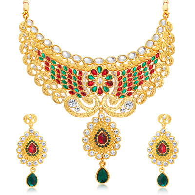 Sukkhi Splendid Gold Plated AD Necklace Set For Women-1