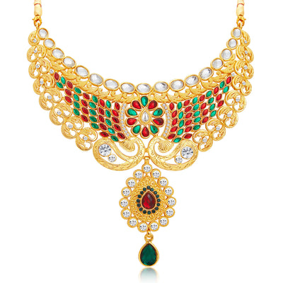 Sukkhi Splendid Gold Plated AD Necklace Set For Women-4