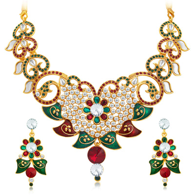Sukkhi Gleaming Gold Plated AD Necklace Set For Women-1