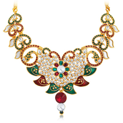 Sukkhi Gleaming Gold Plated AD Necklace Set For Women-4