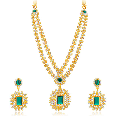 Sukkhi Exquitely Gold Plated AD Necklace Set For Women-1