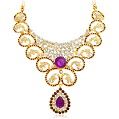 Sukkhi Fabulous Gold Plated AD Necklace Set For Women-4
