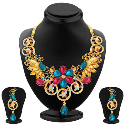 Sukkhi Youthful Peacock Gold Plated AD Necklace Set For Women