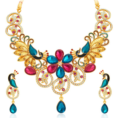 Sukkhi Youthful Peacock Gold Plated AD Necklace Set For Women-1