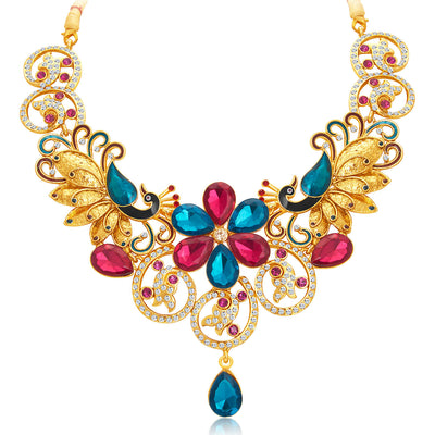 Sukkhi Youthful Peacock Gold Plated AD Necklace Set For Women-4