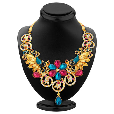 Sukkhi Youthful Peacock Gold Plated AD Necklace Set For Women-2
