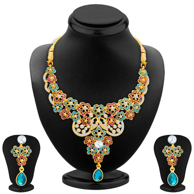 Sukkhi Classic Gold Plated AD Necklace Set For Women