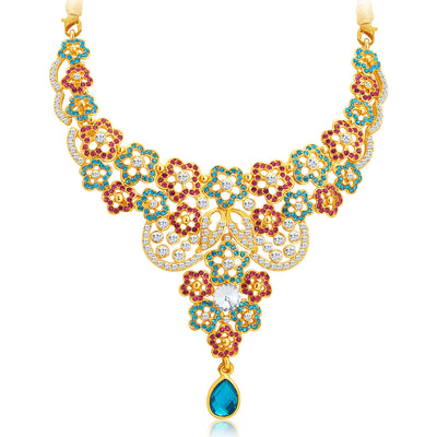Sukkhi Classic Gold Plated AD Necklace Set For Women-4