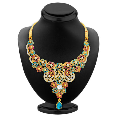 Sukkhi Classic Gold Plated AD Necklace Set For Women-2