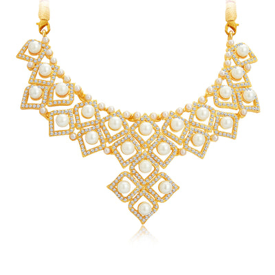 Sukkhi Creative Gold Plated AD Necklace Set For Women-4