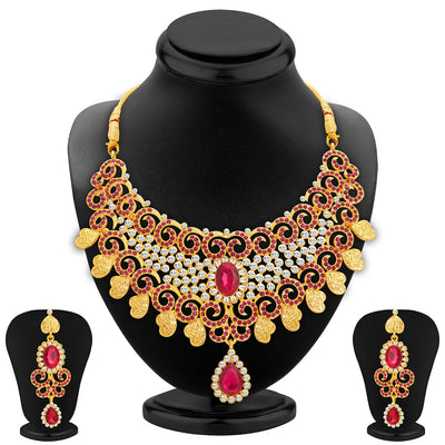 Sukkhi Elegant Gold Plated AD Necklace Set For Women