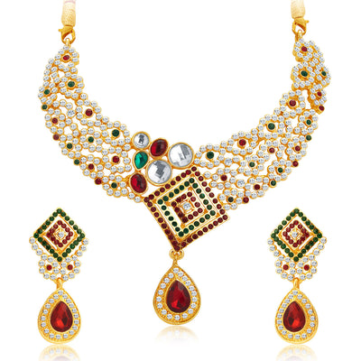 Sukkhi Brilliant Gold Plated AD Necklace Set For Women-1