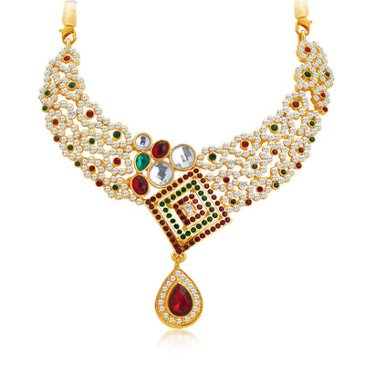 Sukkhi Brilliant Gold Plated AD Necklace Set For Women-4