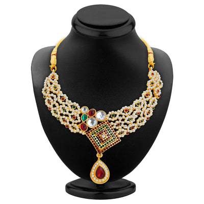 Sukkhi Brilliant Gold Plated AD Necklace Set For Women-2