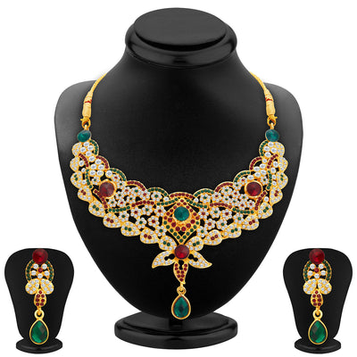 Sukkhi Appealing Gold Plated AD Necklace Set For Women