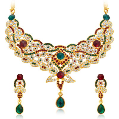 Sukkhi Appealing Gold Plated AD Necklace Set For Women-1