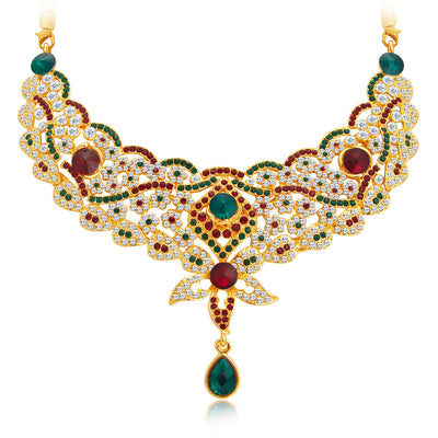 Sukkhi Appealing Gold Plated AD Necklace Set For Women-4