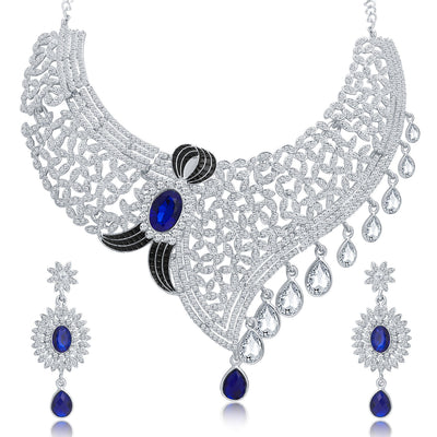 Sukkhi Lavish Rhodium Plated AD Necklace Set For Women-1