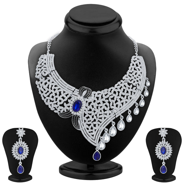 Sukkhi Lavish Rhodium Plated AD Necklace Set For Women