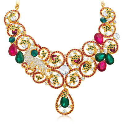 Sukkhi Trendy Gold Plated AD Necklace Set For Women-4