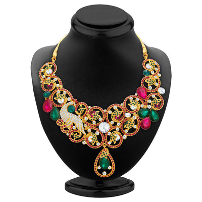 Sukkhi Trendy Gold Plated AD Necklace Set For Women-2