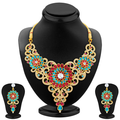 Sukkhi Marvellous Gold Plated AD Necklace Set For Women