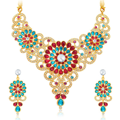 Sukkhi Marvellous Gold Plated AD Necklace Set For Women-1