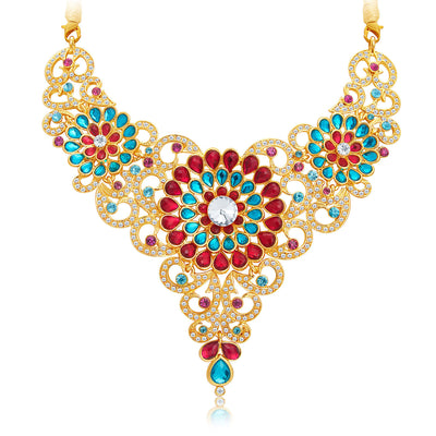 Sukkhi Marvellous Gold Plated AD Necklace Set For Women-4