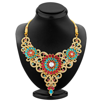 Sukkhi Marvellous Gold Plated AD Necklace Set For Women-2