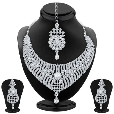 Sukkhi Artistically Rhodium Plated AD Necklace Set For Women