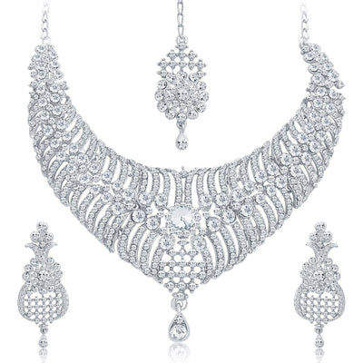 Sukkhi Artistically Rhodium Plated AD Necklace Set For Women-1
