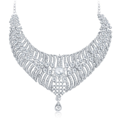 Sukkhi Artistically Rhodium Plated AD Necklace Set For Women-5